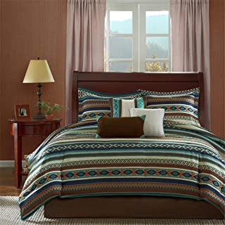 7 Piece Turqouise Blue Brown Tan Southwest Comforter Queen Set, Native American Southwestern Bedding, Horizontal Tribal Stripes Geometric Motifs Lodge, Indian Themed Pattern, Vibrant Western Colors