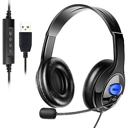 ヘッドセット USB ヘッドセット マイク 両耳 ヘッドセット 高音質 120度回転 ヘッドセット 有線 ヘッドセット pc 音量調節 通気 軽量 ヘッドセット ノイズキャンセリング マイク パソコン 会議 ゲーム用 在宅勤務 (ブラックxブルー)