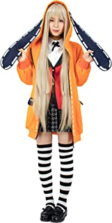Kakegurui Runa Yomozuki Cospaly Costume Orange Hooded Jacket with Ears
