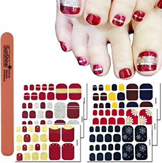 WOKOTO 6 Sheets Toenail Polish Strips Stickers For Women And 1Pc Nail Files Set Red Solid And Strip Color Flower Design Toe Nail Decals Stickers Kit
