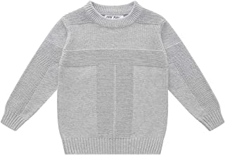 Boys' Long Sleeve Casual Pullover Crew Neck Cotton Knitted Sweater