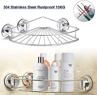 GEMITTO Bathroom Shower Caddy Shelf, Heavy Duty Stainless Steel Corner Shelf, Wall Mounted Bath Room Corner Organizer Basket, Self-Adhesive with 3 Vacuum Suction Cups (Drilling Free)