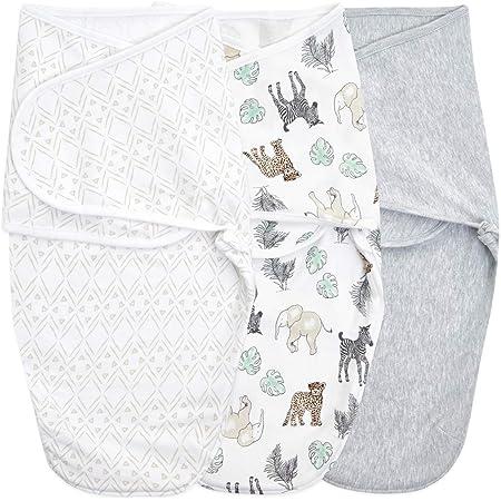 aden + anais essentials - Maxi Lange Bébé en Coton - Couverture Bébé pour Émmaillotage - Sac de Couchage pour Nourrisson - Langes Coton Bébé - Gigoteuse Naissance - 0-3 Mois - Gris, Lot de 3