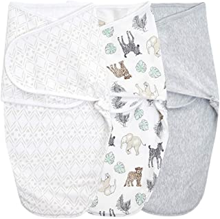 aden + anais Essentials Easy Wrap Swaddle, Cotton Knit Baby Wrap, Newborn Wearable Swaddle Sleep Sack, 3 Pack, Toile, 0-3 ...