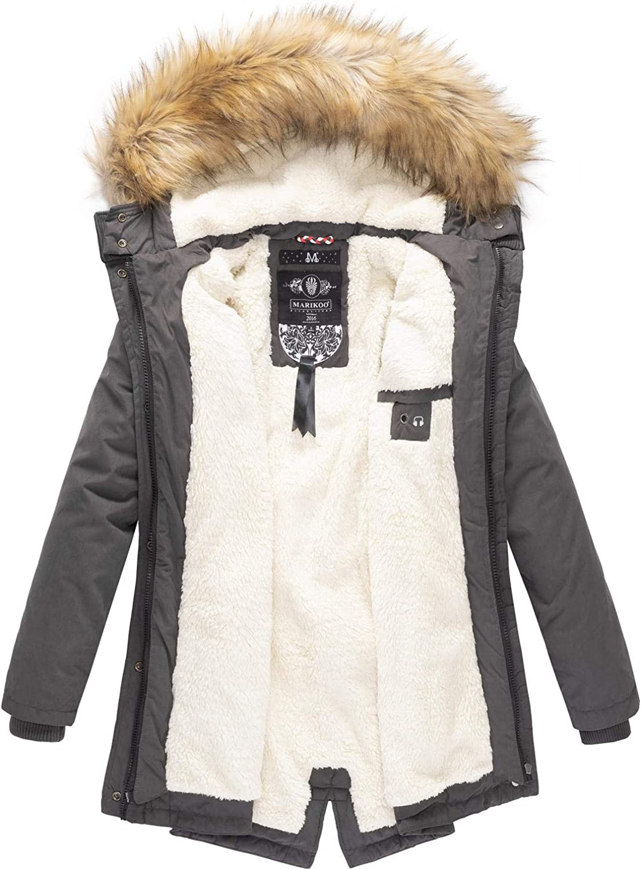 Marikoo Damen Mantel Wintermantel Winterparka Akira XS-XXL Anthrazit