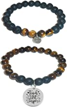 Aromatherapy Women's Tiger Eye & Black Lava Essential Oil Diffuser Beads Charm Stretch Bracelet Gift Set.
