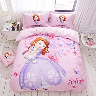 Casa 100% Cotton Kids Bedding Set Girls Sofia The First Princess Pink Duvet Cover and Pillow case and Fitted Sheet,3 Pieces,Twin