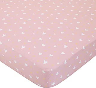 ED Ellen DeGeneres Cotton Tail - Soft 100% Cotton Rose, Ivory Hearts Fitted Crib Sheet, Rose, Ivory