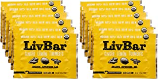 LivBar - Ginger Lemon Turmeric Organic Superfood Bar - USDA Certified - Non-GMO - Gluten, Peanut, Soy, and Dairy Free Prot...