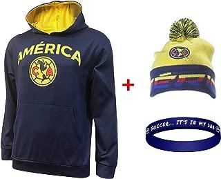 Club America Jacket Hoodie Hood Sweater Sweatshirt Soccer Beanie and Wristband Set 3 Amer 0011