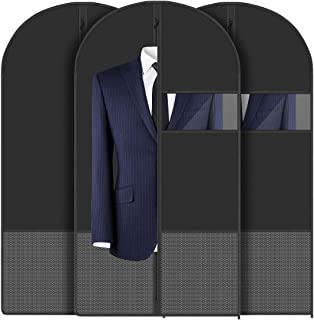 FF1 Garment Bags (43 inches) - Breathable Garment Bag Covers for Suit Carries, Dresses, Linens, Storage or Travel - Suit Bag with Clear Window and String Bags