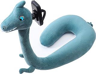 ネックピロー U型枕 携帯 スタンド かわいい 3D 動物 調節可能 携帯枕 自宅 モバイル トラベル おもしろい 旅行用品 (恐竜)