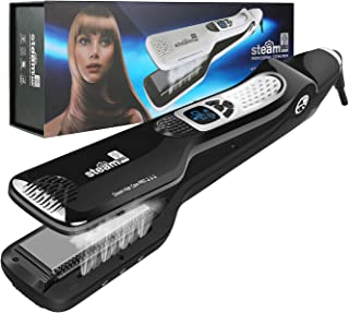Steam Hair Straightener, Salon Professional Nano Titanium Ceramic Steam Flat Iron Hair Styler with Removable Teeth Comb + Digital LCD + 5 Level Adjustable Temperature + Auto Temperature Lock - Black