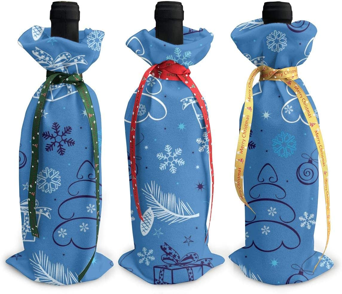 Max 49% OFF Snowflake Blue Christmas3Pcs Limited price sale Christmas Xmas Bottl Red Glass Wine