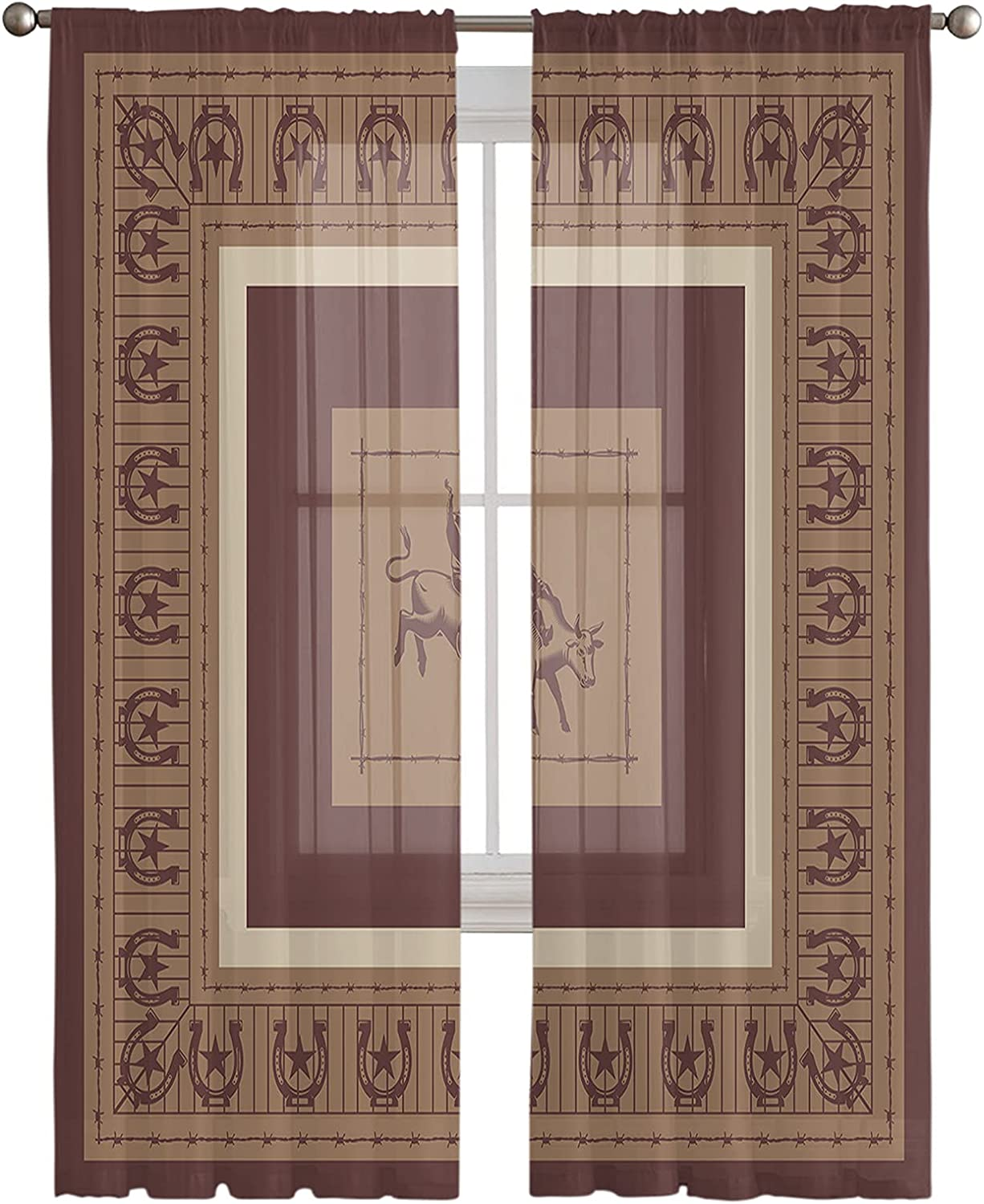 Semi Sheer Panel Curtains 108 Inch Simple Bo Financial sales sale New York Mall Length Cow Western