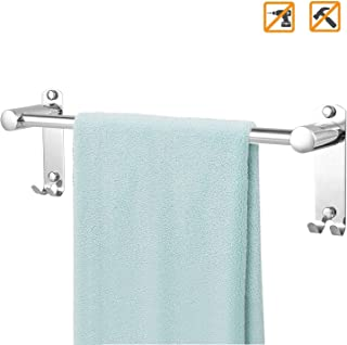 Water Rust Proof 40 cm // 15.75 in BUZIFU Towel Rails Self Adhesive Towel Holder Stainless Steel Towel Hanger Stick on Towel Rack Wall Mounted with 3 Hooks for Kitchen Bathrooms Heavy Duty