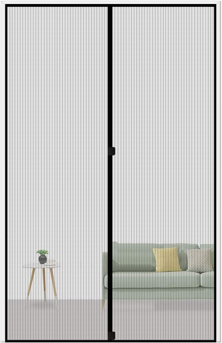 "MAGZO Magnetic Screen Door 36 x 82, Reinforced Fiberglass Mesh Curtain Front Door Mesh with Full Frame Hook&Loop Fits Door Size up to 36""x82"" Max-Grey - -"