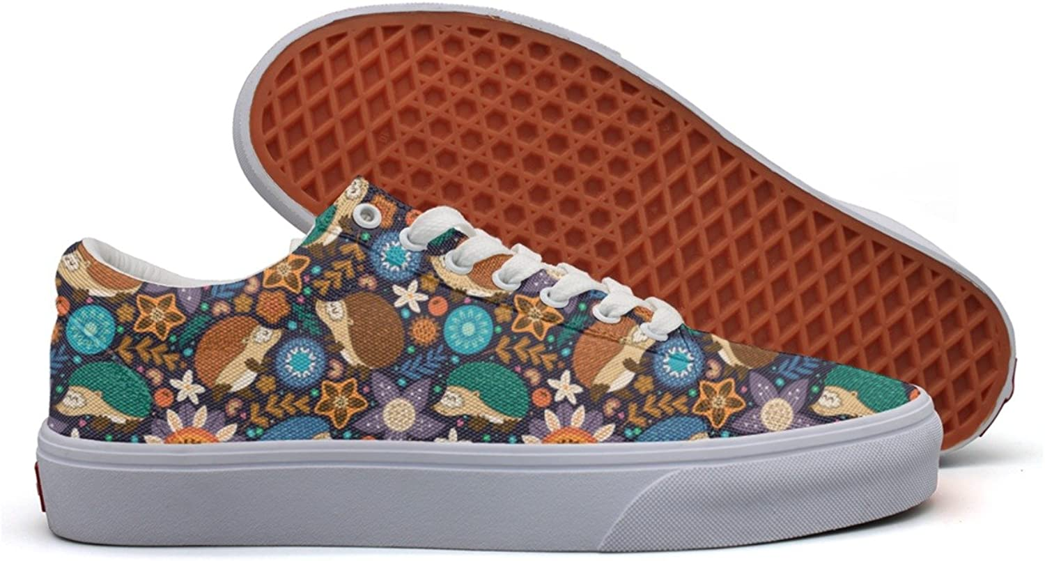 Hedgehogs And Floral Women's Casual Sneakers Slip-On Classic Fashion Designer