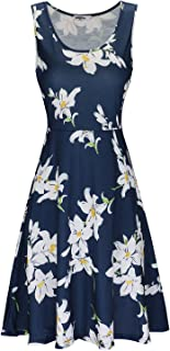 Women's Summer Floral Round Neck Sleeveless Casual Midi Flared Tank Dress