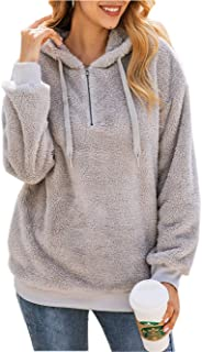 Women's Teddy Fleece Long Sleeve Fuzzy Hoodie Hooded Sweatshirt Drawstring Pullover Fuzzy Velvet Sweater Outwear