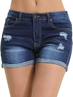 HOCAIES Juniors Vintage Mid Waist Folded Hem Denim Jeans Shorts for Women