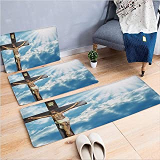3 Piece Non-Slip Doormat 3d print for Door mat living room kitchen absorbent kitchen mat,Majestic Sun Rays Celestial Paradise Heaven,15.7