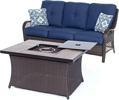 Hanover ORLEANS2PCFP-NVY-A 2 Piece Orleans Woven Fire Pit Set, Navy Blue Outdoor Furniture