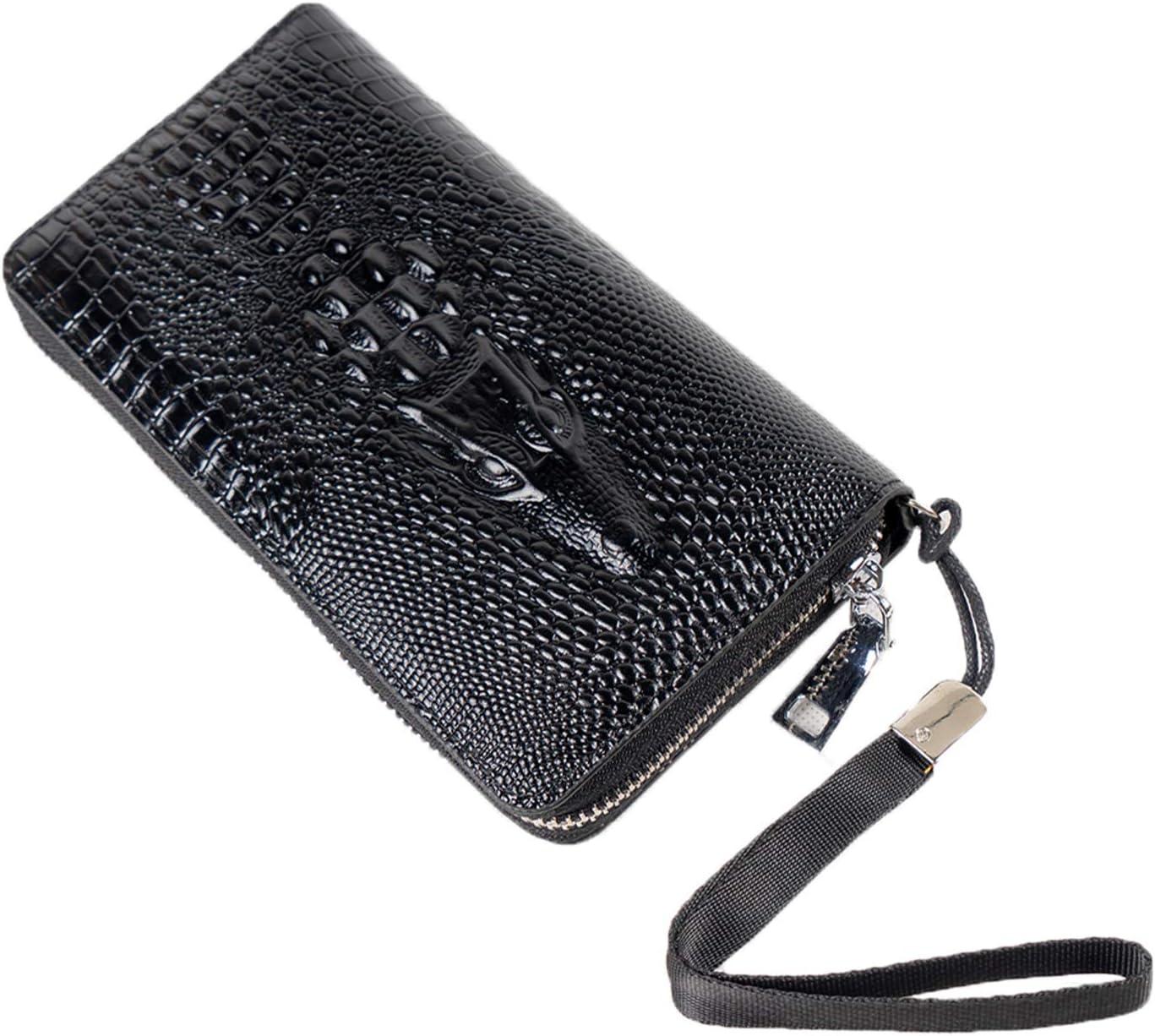 MINGLIN Women Crocodile Pattern Wallet Bifold Clutch Large Capacity Card RFID Blocking Wallet Organizer Buckle Long Purse for Girls, Black