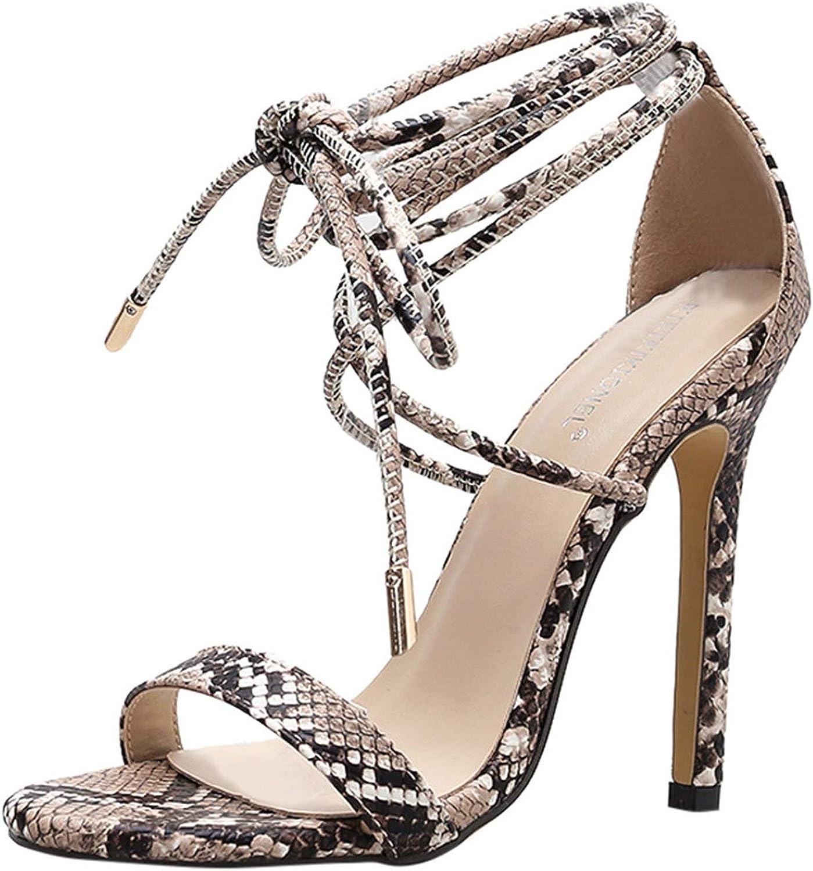 Ladies Sexy Sandals shoes Woman shoes De Women'S Snake Pattern Stiletto High Heels Roman shoes Cross-Strap Sandals