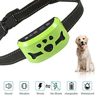 Dog No Bark Collar with Smart Detection Vibration and Harmless Shock- Rechargeable Anti Barking Device for Small Medium and Large Dog…