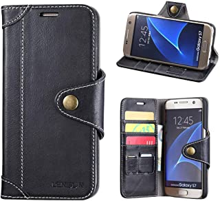 LENSUN Funda Galaxy S7, Funda de Cuero Genuino con Cartera para Tarjetas y Cierre Magnetico para Samsung Galaxy S7 5,1