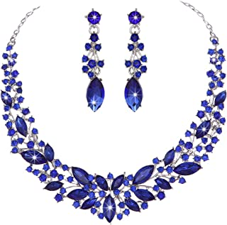 Austrian Crystal Rhinestone Bridal Wedding Necklace and Earrings Jewelry Sets for Women