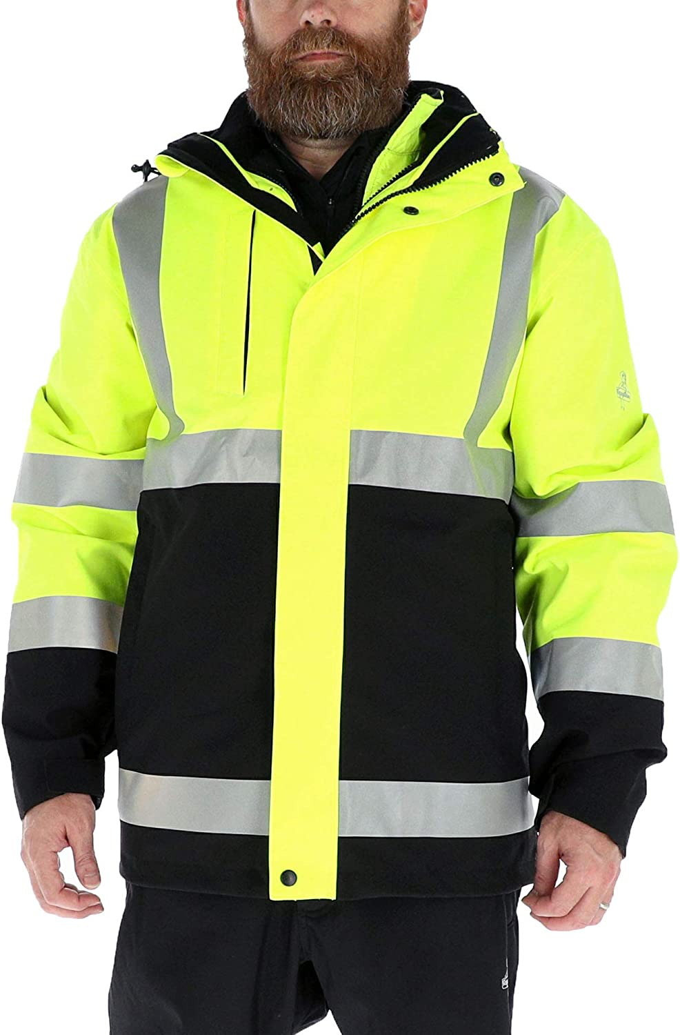 RefrigiWear Hivis 3-in-1 Insulated Rainwear Systems Jacket - ANSI Class 2 High Visibility with Reflective Tape