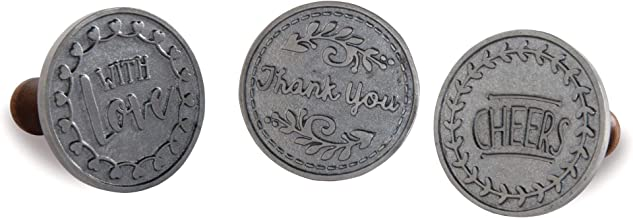 Nordic Ware Greetings Cast Cookie Stamps, 3-inch rounds, Silver