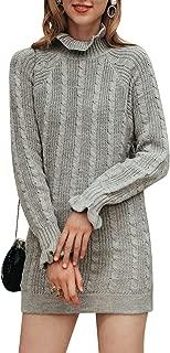 Fargeous Women's Turtleneck Long Sleeve Bodycon Cable Knit Mini Sweater Dress