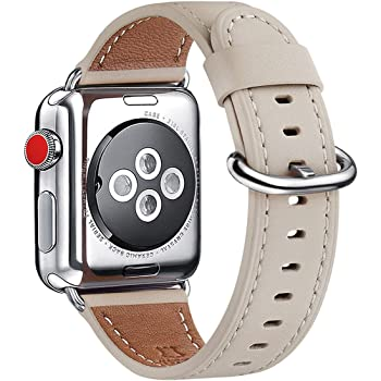 WFEAGL Compatible Apple Watch Band 38mm 40mm, Top Grain Leather Band Replacement Strap for iWatch Series 4,Series 3,Series 2,Series 1,Sport,Edition(Ivory White Band,38mm 40mm)