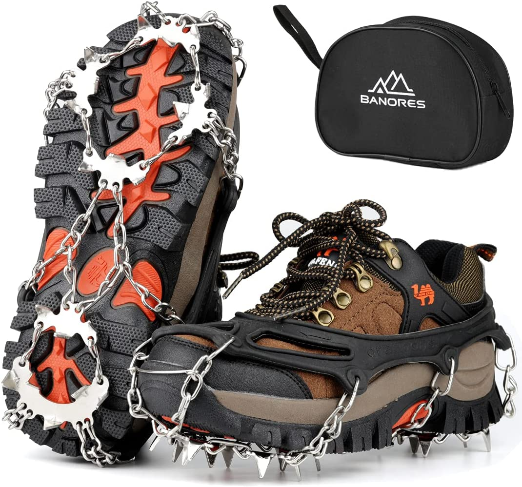 BANORES Traction Cleats Ice 1 year warranty Snow Grips Tampa Mall Stainless Steel S 20 with