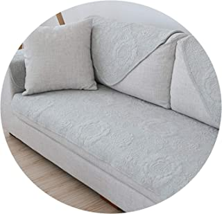 Pastoral Style high Grade Floral Embroidery Quilting Sofa Cover Breathable Jersey Cloth slipcovers canape,Light Grey as pic,70cm50cm 1pc