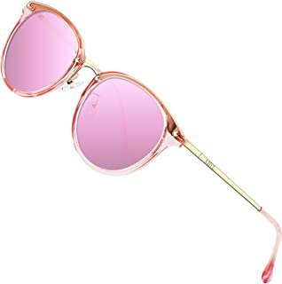 Fashion Round Sunglasses for Women Polarized UV Protection Metal frame