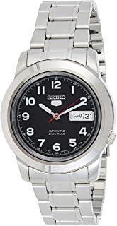 Seiko SNKK35J1 Men Watches, Automatic Black Dial Day Date Stainless Steel