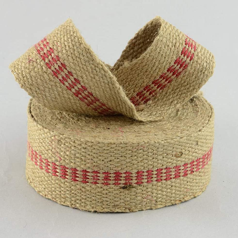 Upholstery or Craft Jute Webbing, Natural with red Burlap Ribbon roll Made of Natural Burlap Fabric for Jute Chair Webbing or Rustic Decoration 2 inch Wide x 10 Yard