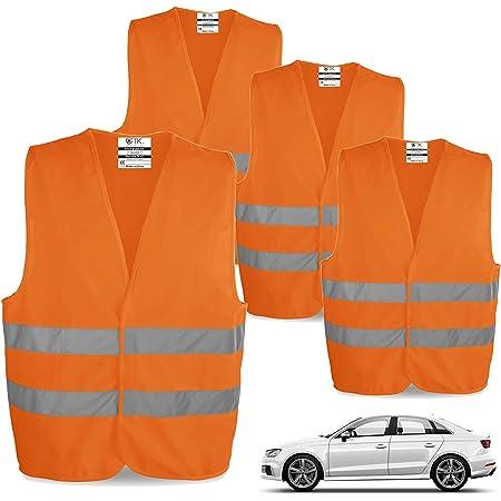 Tk Gruppe Timo Klingler 4x Warnwesten En471 Pannenweste 2021 Unfallweste Pkw Sicherheitsweste Weste Orange Reflektierend Auto Pkw Lkw 4x Stück 4x Auto