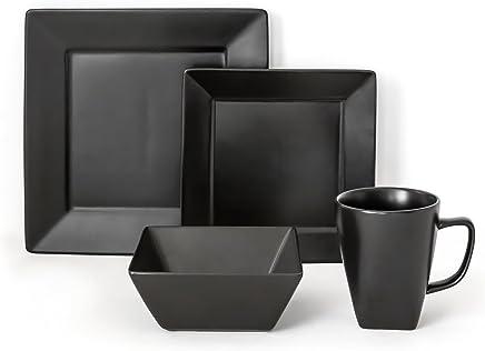 Amazoncom Black Dinnerware Sets Dinnerware Home Kitchen