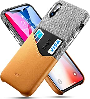ESR Wallet Case Compatible for iPhone Xs/X, Soft Fabric + Premium PU Leather Case with ID&Card Holder Slot for iPhone Xs/X(Gray/Brown)
