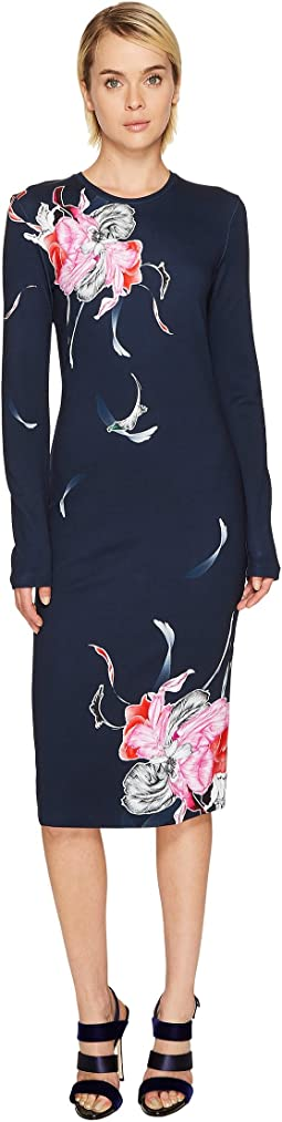 Prabal Gurung - Printed Long Sleeve Viscose Knit Dress