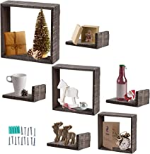 Juvale Floating Shelves - Set of 7 Floating Shelves - Wood Wall Mounted Shelf - Rustic Wood Decor - Includes 3 Square Shelves and 4 L-Shaped Shelves, Brown