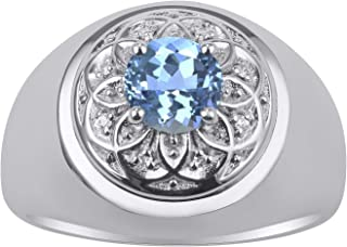 RYLOS 14K White Gold Ring Gorgeous 7MM Round Shape Gemstone Color Stone and Genuine Sparkling Diamonds Set in Gypsy Design...