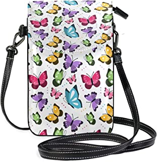 LORONA Colorful Pattern With Flat Butterflies Flying Crossbody Bag Small Cell Phone Purse Wallet for Women