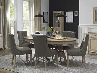 Everhome Designs - Charleston 7 Piece Chalk Oak Extension Oval Dining Table Set