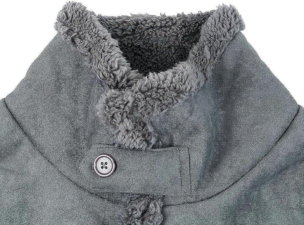 LEIYAN Mens Cotton Jackets Military Cargo Winter Heavyweight Fleece Sherpa Lined Button Down Warm Windproof Jacket